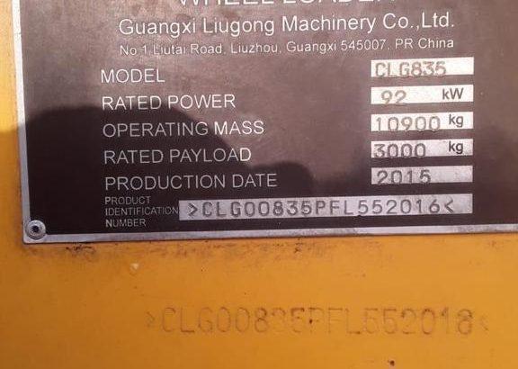 Pala cargadora Liugong CL835