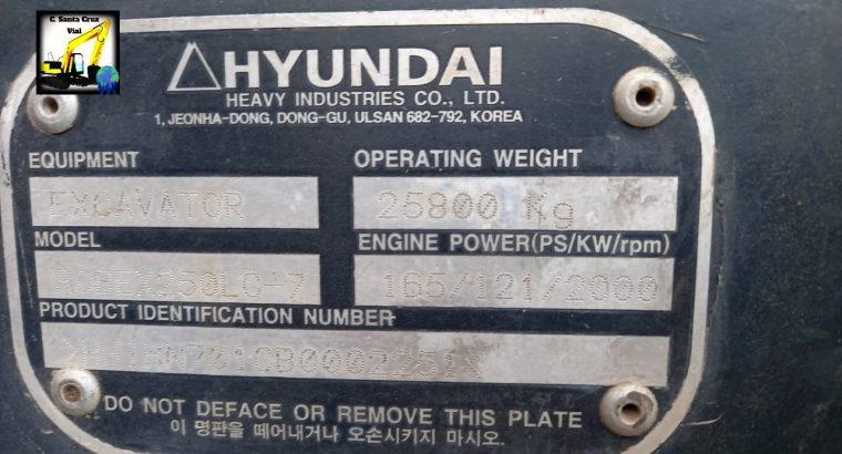 Excavadora sobre orugas Hyundai 250LC
